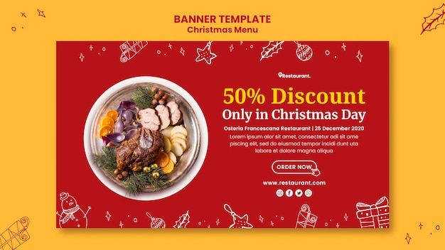 Modello di banner per ristorante di cibo di natale