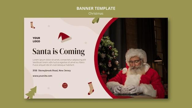 Modello di banner per la vendita dello shopping natalizio