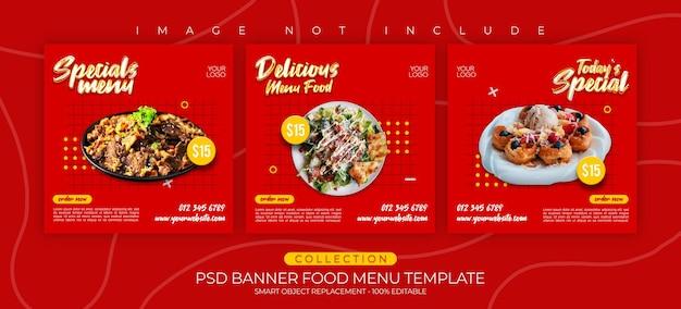 Menu di cibo modello banner e raccolta di post instagram cullinary