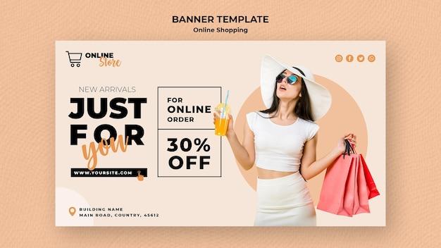 Modello di banner per la vendita di moda online