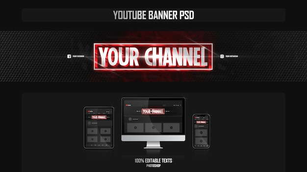 Banner per canale youtube con concetto cinematografico