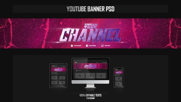 Banner per canale youtube con il concetto di musica