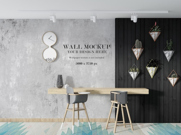 Design mockup a parete montato su bancone bar