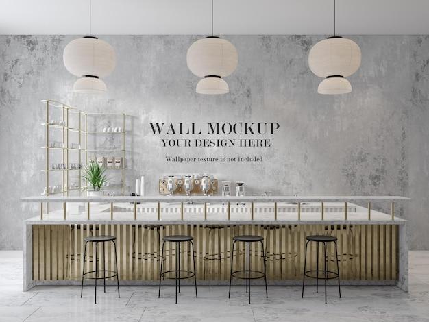 Mockup di muro bancone bar in rendering 3d