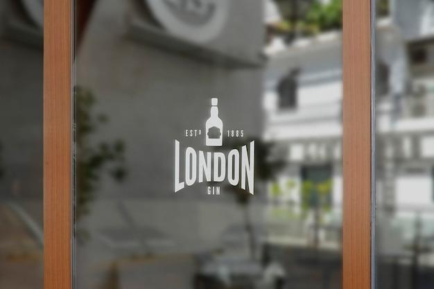 Bar finestra segno logo mockup