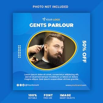 Salone di barber shop e gents, modello quadrato dell'insegna della posta di instagram