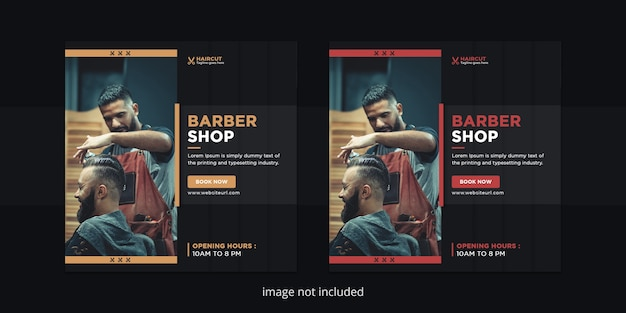 Modello di post instagram di social media del negozio di barbiere