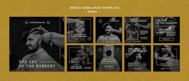 Modello di post sui social media del negozio di barbiere