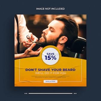 Banner web di social media del negozio di barbiere e modello di post banner di instagram