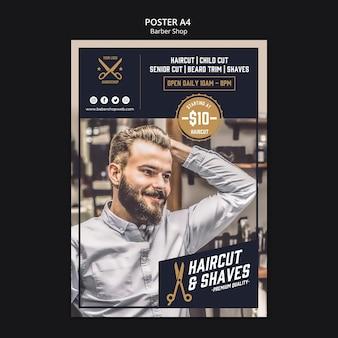 Poster modello negozio di barbiere