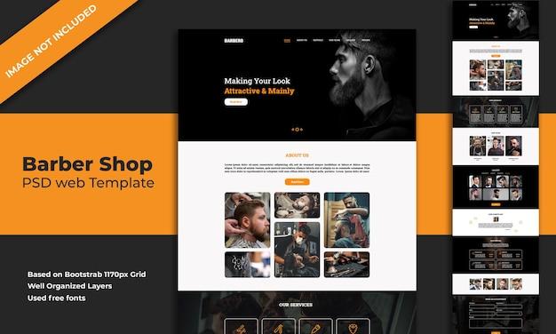 Modello di pagina di destinazione del sito web del negozio di barbiere