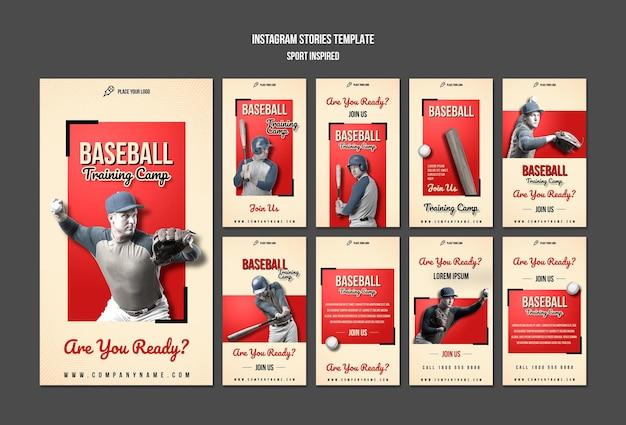 Modello di storie di instagram di allenamento di baseball
