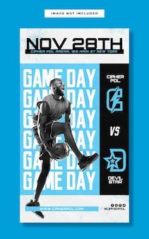 Modello di storia instagram del giorno della partita di basket