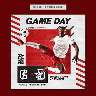 Modello di post instagram sui social media per la giornata della partita di basket