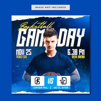 Modello di instagram per social media della giornata della partita di basket