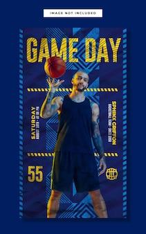 Modello di storia instagram social media di basket gameday