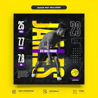Modello di social media introduttivo per giocatore di basket