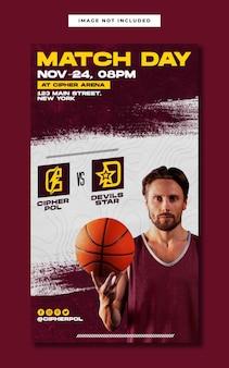 Evento sportivo di basket corrisponde al modello di storia di instagram