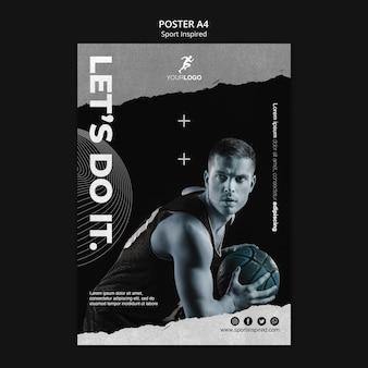 Modello di poster pubblicitario di allenamento di pallacanestro