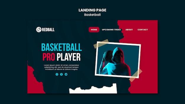 Modello di pagina di destinazione dell'allenamento di pallacanestro