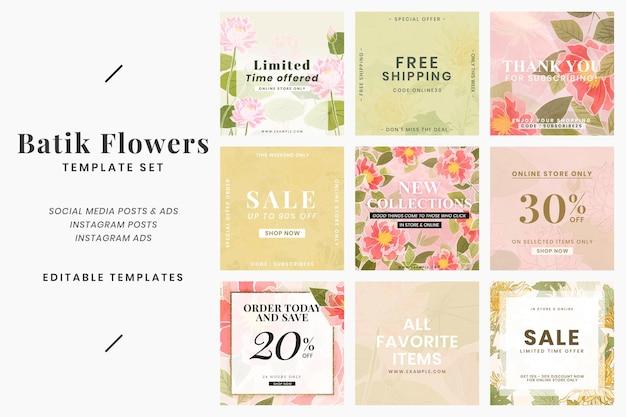 Set di modelli di vendita modificabili per fiori batik per post sui social media psd