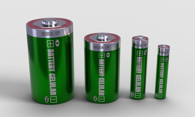 Batteria cellulare set mockup 3d rendering