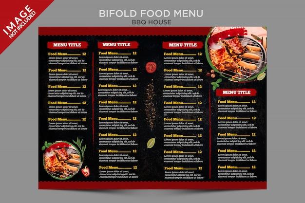 Menu di cibo della casa barbecue all'interno della serie bifold