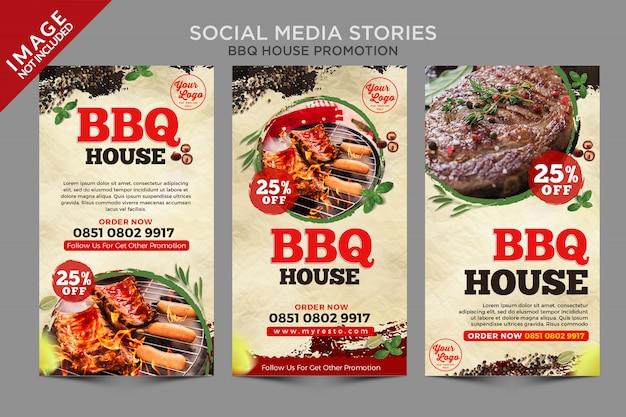 Serie di storie sui social media di bbq house