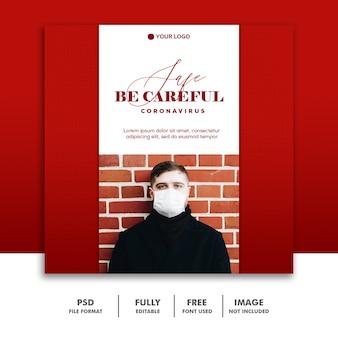Fai attenzione ai social media i post modello instagram, uomo rosso con maschera coronavirus