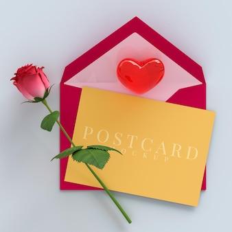 Sii la mia festa di san valentino con decorazioni per scatole regalo e mockup di biglietti di auguri