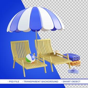 Sedie a sdraio e ombrelloni con palloni da spiaggia bagagli 3d rendering