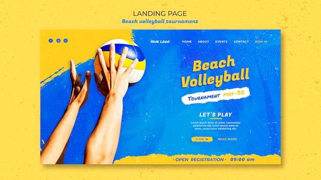 Modello di pagina di destinazione del concetto di beach volley