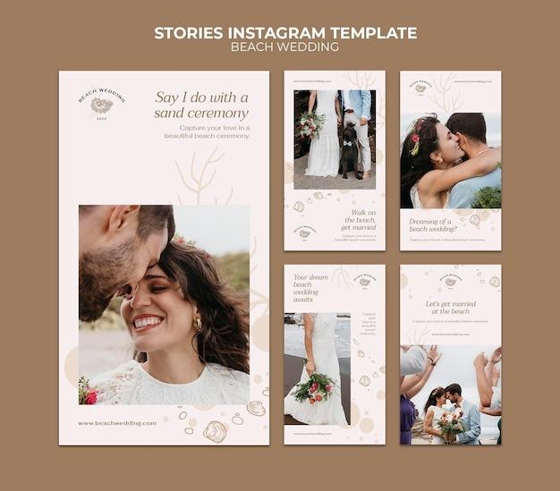 Storie di social media per matrimoni in spiaggia