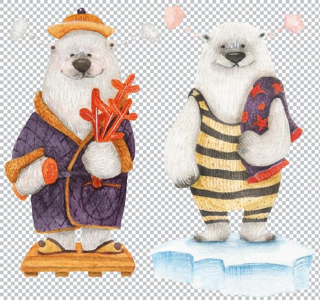 Orso in accappatoio e orso in costume da bagno nella sauna