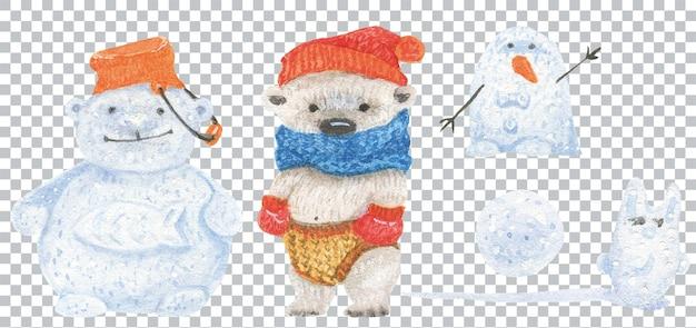 Cucciolo di orso e sculture di neve