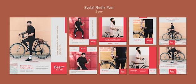 Modello di post sui social media di barba