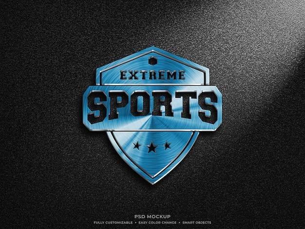 Bellissimo design mockup logo blu metallizzato