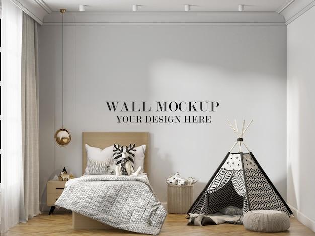 Bellissimo mockup della parete della camera da letto dei ragazzi