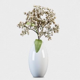 Bellissimi fiori in vaso rendering 3d isolato