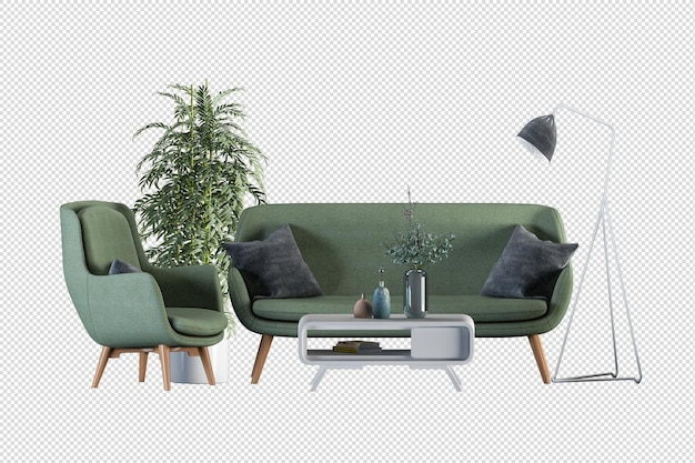 Bellissimo design degli interni in rendering 3d
