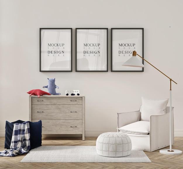 Bellissimo interno della camera da letto dei bambini con poltrona divano e poster mockup