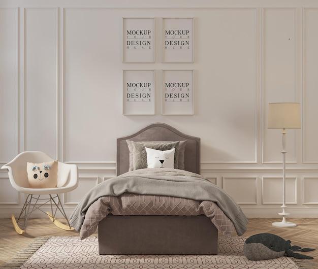 Bellissima camera da letto per bambini con cornice per poster mockup