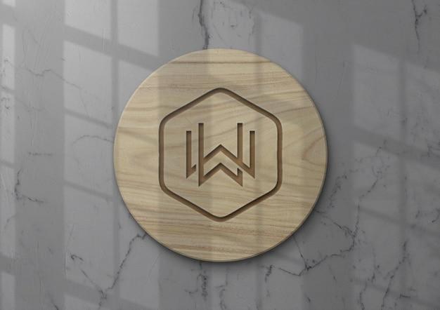 Bellissimo logo mockup design parete in legno