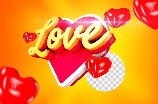 Bello rendering 3d di amore