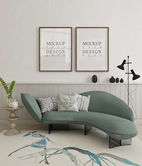 Bellissimo poster mockup incorniciato nel soggiorno moderno con divano