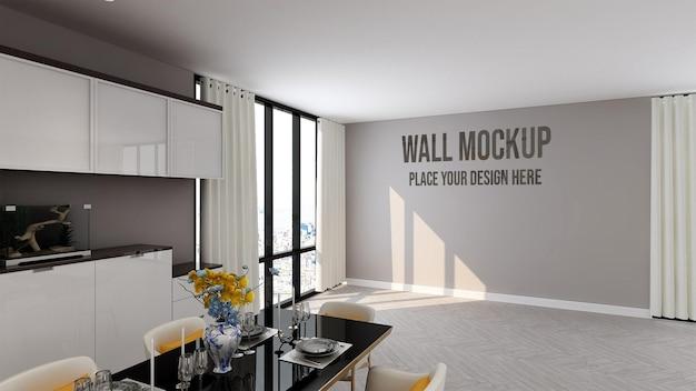 Bella parete mockup nella cucina di lusso