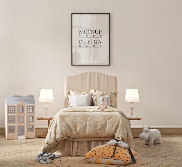 Bellissima camera da letto moderna per bambini con mockup con cornice in poster