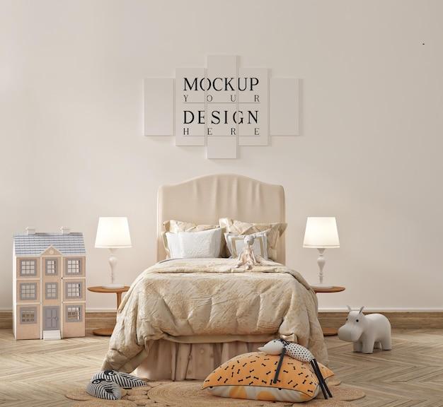 Bellissima camera da letto moderna per bambini con mockup di poster
