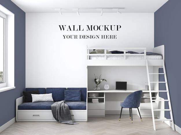 Il bellissimo mockup 3d della parete della stanza teenager moderna rende