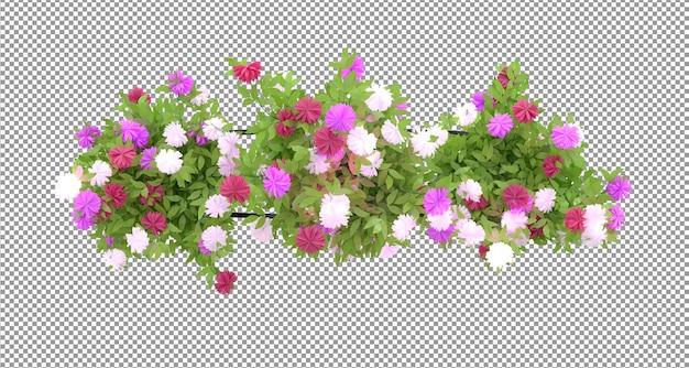 Bellissimo fiore in vaso nelle rappresentazioni 3d